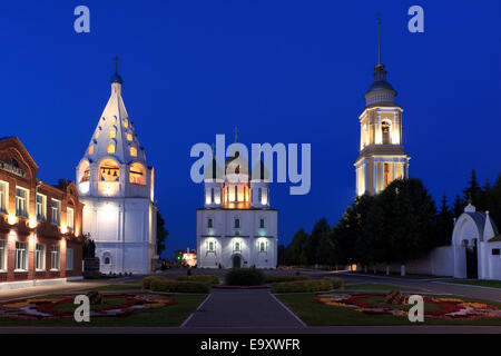 Cathedral Square in the old town of Kolomna, Russia, at dusk - Stock Photo