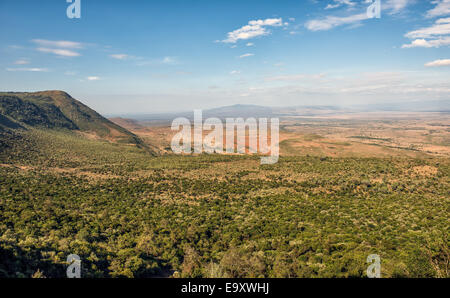 The Great Rift Valley from the Kamandura Mai-Mahiu Narok Road, Kenya, Africa - Stock Photo
