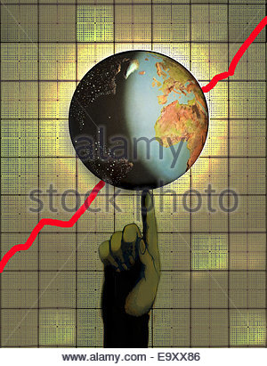 Globe with ascending line graph balancing on finger - Stock Photo