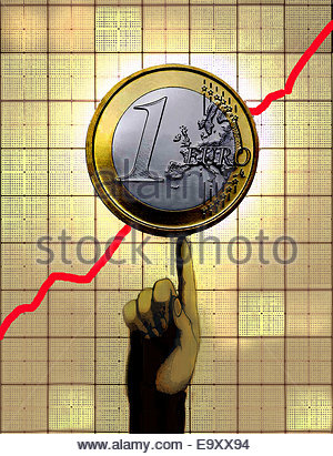 Finger supporting Euro coin on increasing line graph - Stock Photo