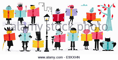 Rows of characters enjoying reading different fiction books - Stock Photo