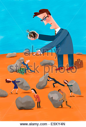 Large businessman with stopwatch timing workers moving heavy rocks searching for money - Stock Photo