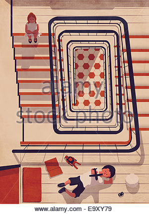 Bored girl on staircase watching boy play - Stock Photo