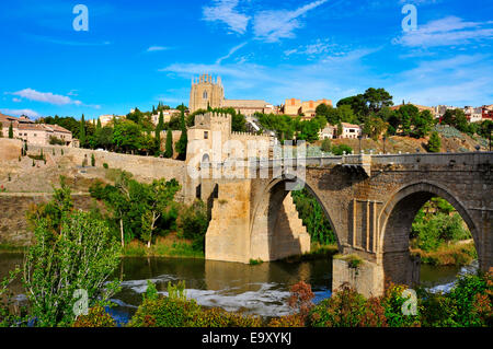 Puente de San Martin bridge over the Tagus river in Toledo, Spain - Stock Photo