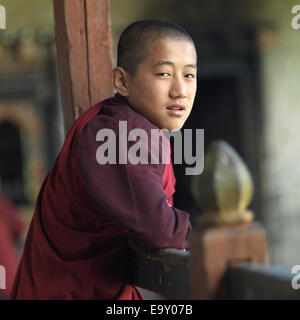 Monk at Tamshing Monastery, Chokhor Valley, Bumthang District, Bhutan - Stock Photo