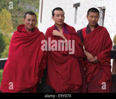 Monks at Rinpung Dzong, Paro Valley, Paro District, Bhutan - Stock Photo