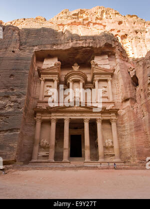 The treasury is also called Al Khazna, it is the most magnificent and famous facade in Petra Jordan, - Stock Photo