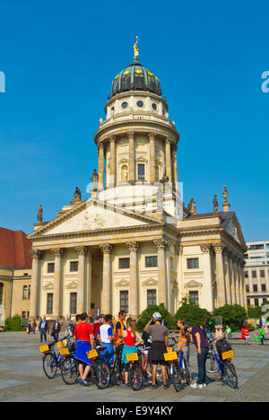 Bicycle guided tour group, Gendarmenmarkt square, Friedrichstadt, Mitte district, central Berlin, Germany - Stock Photo