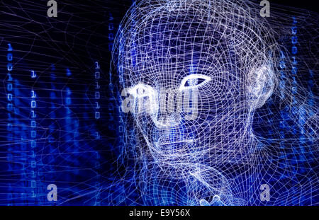 Woman digital wireframe face conceptual 3D illustration with binary code on dark blue background - Stock Photo