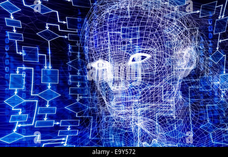 Woman digital wireframe face conceptual 3D illustration with a flow chart and binary code on dark blue background - Stock Photo