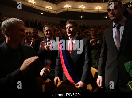 Donetsk, Ukraine. 4th Nov, 2014. Russian MP Alexei Zhuravlev, Speaker of the South Ossetian Parliament Anatoly Bibilov - Stock Photo