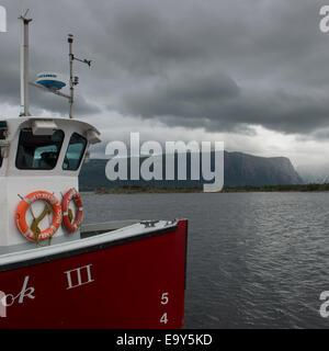 Western Brook Pond fjord boat tour, Gros Morne National Park, Newfoundland and Labrador, Canada - Stock Photo