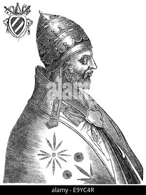 Pope Adrian IV or Adrianus IV, born Nicholas Breakspear, pope from 1154 to 1159, Papst Hadrian IV. oder Adrian IV., - Stock Photo