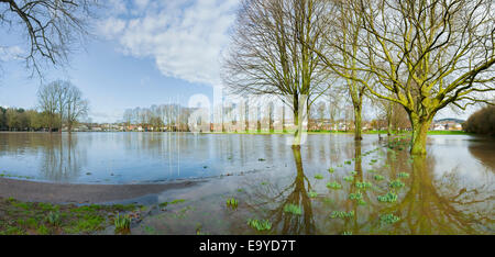 Flooded footpath and recreation ground in Monmouth, South Wales. - Stock Photo