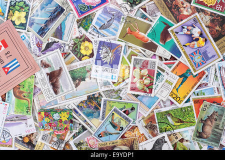Set of various stamps from around the world - circa 1971-1978: A post stamp printed in the world shows image. - Stock Photo
