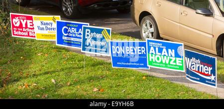 Arlington, Virginia, USA. 4th November, 2014.  Democrat campaign signs, voting November 4, 2014. Lyon Village Community - Stock Photo