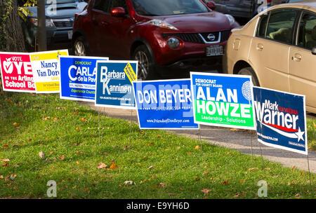 Arlington, Virginia, USA. 4th November, 2014.  Democratic party campaign signs, voting November 4, 2014. Lyon Village - Stock Photo