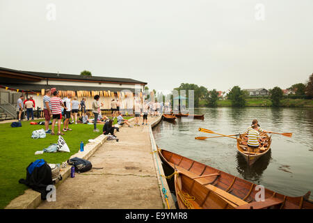 Rowing club skiff competition meeting on the thames - Stock Photo