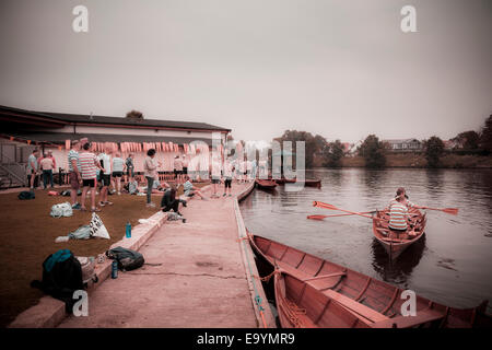 Rowing club skiff competition meeting on the thames instagram effect - Stock Photo