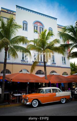 Classic American Car on Ocean Drive. Miami Beach, Florida - Stock Photo