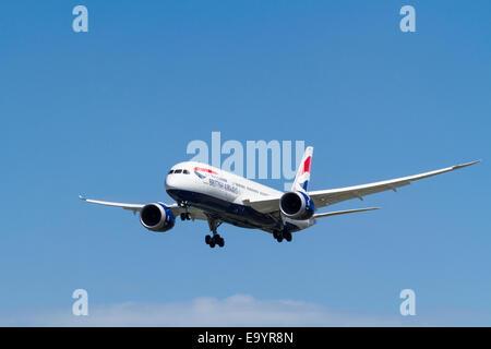 British Airways Boeing 787 plane, G-ZBJB, on landing approach at London Heathrow, England, UK - Stock Photo