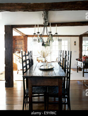Dining room table and chairs in homes - Stock Photo