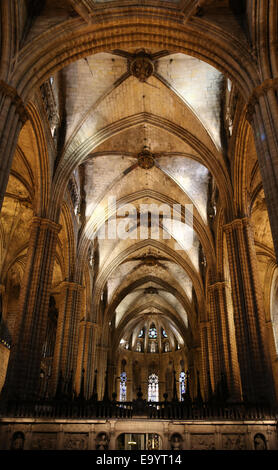 Spain. Catalonia. Barcelona Cathedral. Inside. Apse. 13th century. - Stock Photo