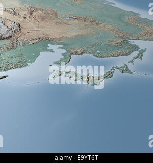 World Map, physical map, Asia, Japan, Korea, China and Russia - Stock Photo