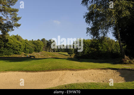 View over Bunker beside 3rd Green towards 6th Tee Wrotham Heath Golf Club Sevenoaks Kent England - Stock Photo