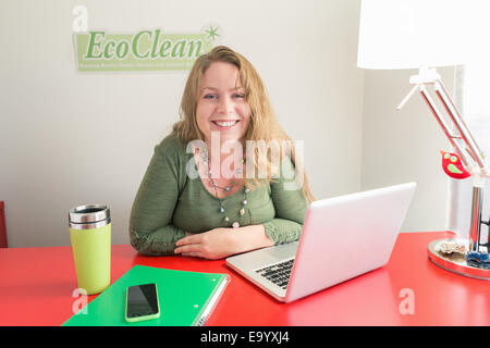 Small business owner of green cleaning company - Stock Photo