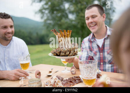 Small group of adults enjoying meal, outdoors - Stock Photo