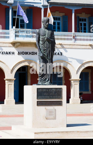 Zeno of Kition staue, founder of Stoicism philosophy, Europe Square, Larnaca, Cyprus. - Stock Photo