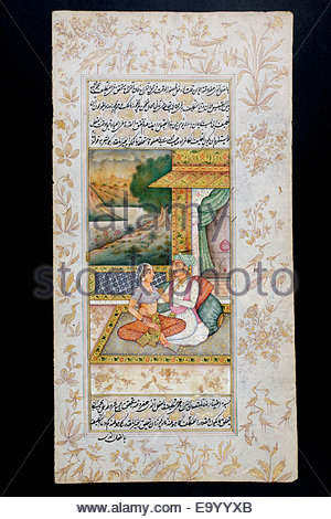 Rajasthani miniature painting from Rajasthan, India.  Probably late 19th century or early 20th century.  A man courts - Stock Photo