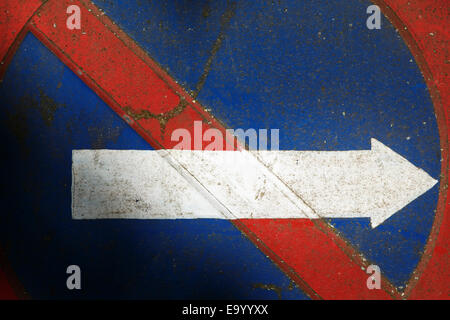No Parking traffic sign with white arrow pointing to right - Stock Photo