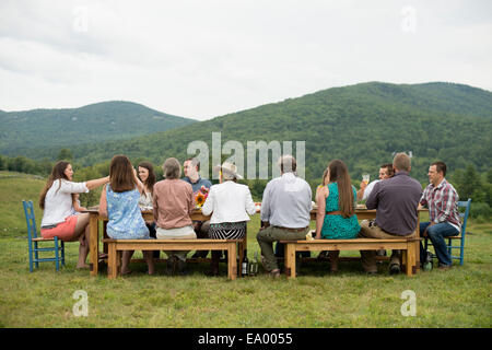 Family and friends making a toast at outdoor meal - Stock Photo