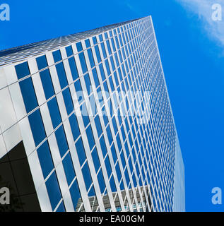Low angled view of office block in financial district, Manhattan, New York, USA - Stock Photo