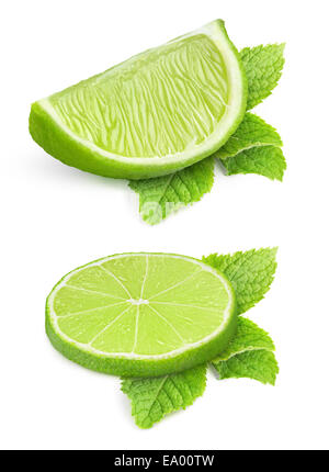 Two pieces of lime and mint leaves isolated on white - Stock Photo