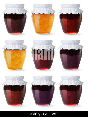 Glass jars with homemade jam isolated on white - Stock Photo