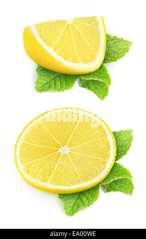 Two pieces of lemon and mint leaves isolated on white - Stock Photo