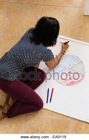 Woman drawing pie chart Small Business, Start-up - Stock Photo