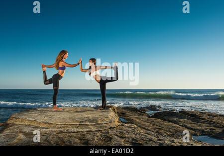 Dancer pose, Windansea beach, La Jolla, California - Stock Photo