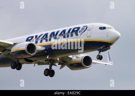 Ryanair Boeing 737-800 landing to Manchester International Airport. Close up picture of landing aircraft. - Stock Photo