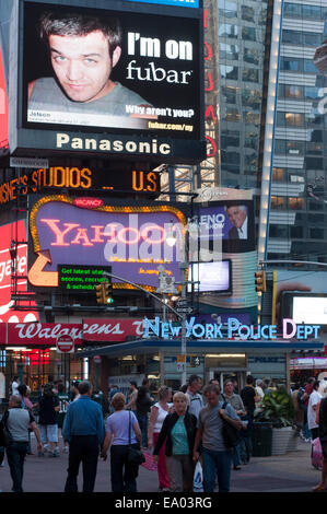 New York Police Dept Times Square Manhattan New York New York USA. Police Department.  Times Square Broadway theater - Stock Photo
