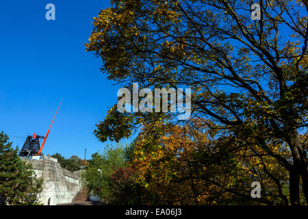 Prague metronome at Letna Hill in former Stalin monument place, Czech Republic - Stock Photo