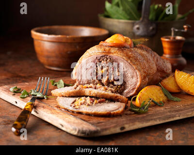 Christmas dinner Free range boneless duck with pork cranberry & morello cherry stuffing apricots oranges sage and - Stock Photo
