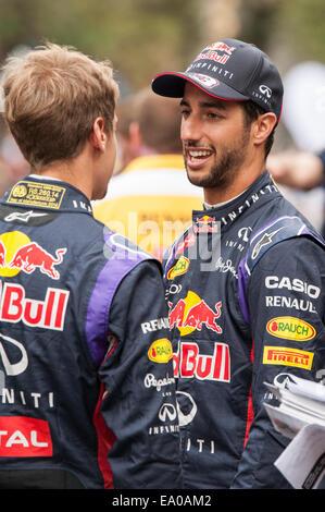 Infiniti Red Bull Formula 1 drivers Daniel Ricciardo and Sebastian Vettel seen at a demonstration event in Austin, - Stock Photo