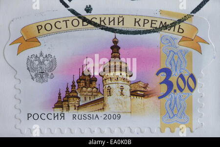 RUSSIA - CIRCA 2009 : postage stamp printed by Russia, shows Kremlin in Rostov, circa 2009 - Stock Photo