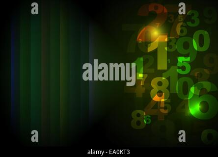 vector abstract background with random numbers, eps10 file, gradient mesh and transparency used - Stock Photo
