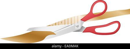 vector illustration of scissors cutting golden ribbon - Stock Photo