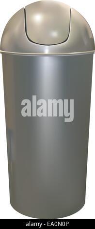 aluminum trash can on white background - Stock Photo